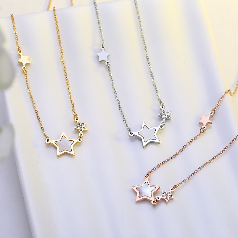 Factory Direct Supply Star Rose Gold Color Womens Titanium Steel Necklace Shell Clavicle Chain Necklace ZK50