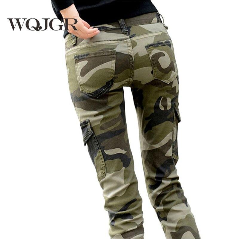 WQJGR 2017 Pants Women Cotton Fashion Camouflage Women Pants Pencil Women Long Pants