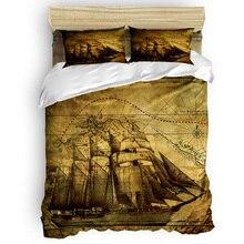 Vintage Retro Map Sailboat 3D Bedding Sets 4pcs Bedclothes Queen/Twin/King Size Bedding Sets Duvet Cover Housse De Couette Kids