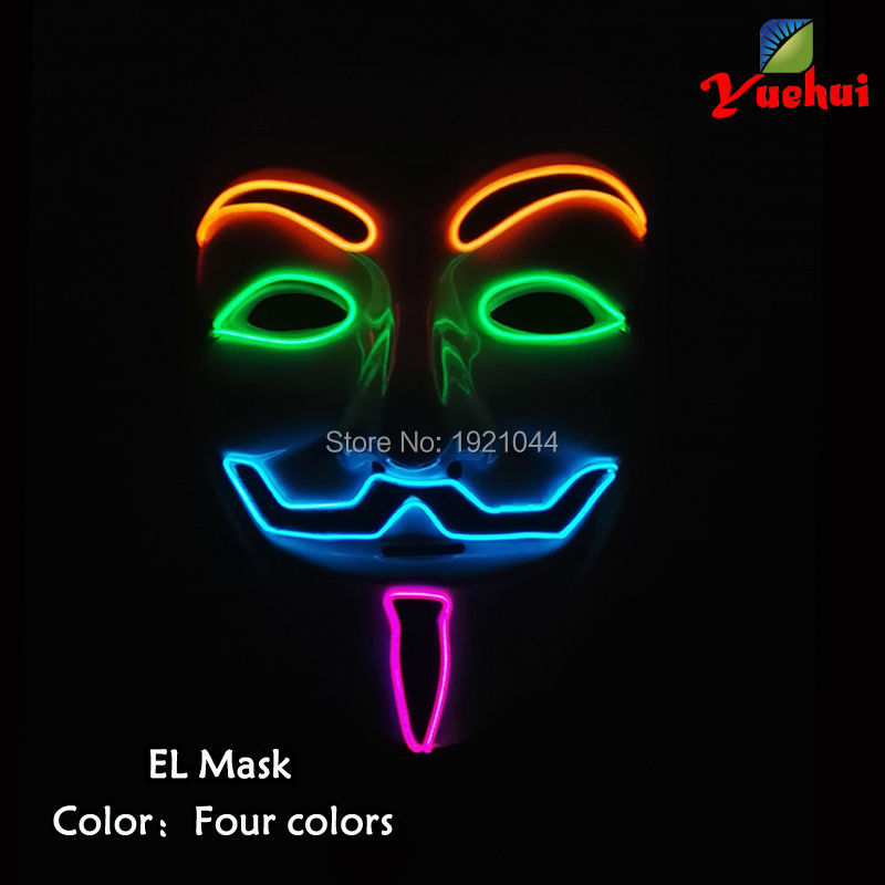 Light up Four Color EL Wire Mask for Halloween Party Mask Decoration Supplies Sound Activated Driver