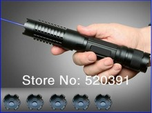 On sale Strong Military 5000mw 5 Watt 450nm Blue Laser pointer Flashlight Burn match candle lit cigarette wicked Lazer Torch+Glasses+Gif