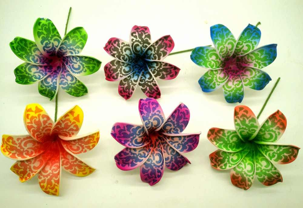 Free Shipping F1143 216pcs/ lot 9CM 6 colors Foam tiare hair pick  women wear hair accessories Hawaii tropical flower
