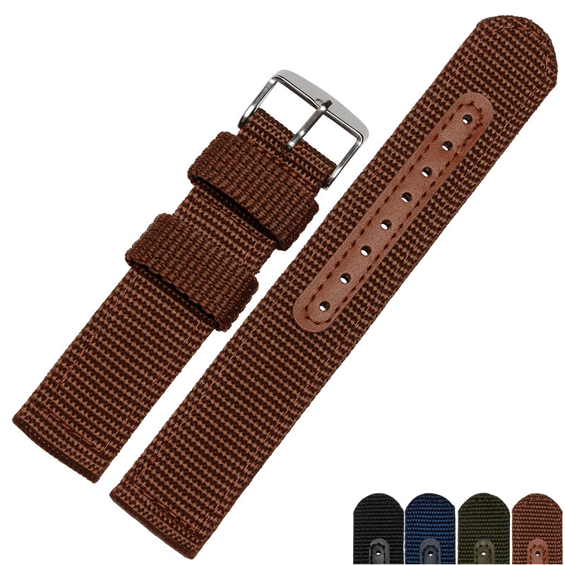18mm 20mm 22mm 24mm High Quality Nylon Watch Band Wrist Strap Belt Watchband Wristwatch Black Blue Brwon Green for Man Woman