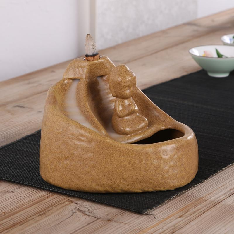 Backflow incense flower implement Little Buddha maitreya censer characters Vintage home furnishing articles