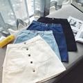Novo 2017 denim casual vestidos saias botão das calças de brim das mulheres plus size vintage azul curto mini saias feminino fash