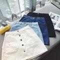 Nuevo 2017 denim casual vestidos faldas mujeres jeans button plus size vintage azul corto mini faldas mujer fash