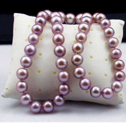 18 10-11mm dacqua dolce genuino naturale rosa collana di perle 925 argento18 10-11mm dacqua dolce genuino naturale rosa collana di perle 925 argento