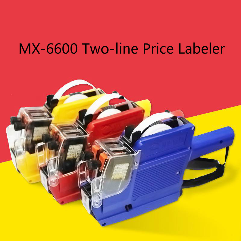 MX-6600 Two-line 10 digits tag sticker gun price gun refillable ink roller labeller tool double price labels for one line price tag gun reddish purple 10 rolls