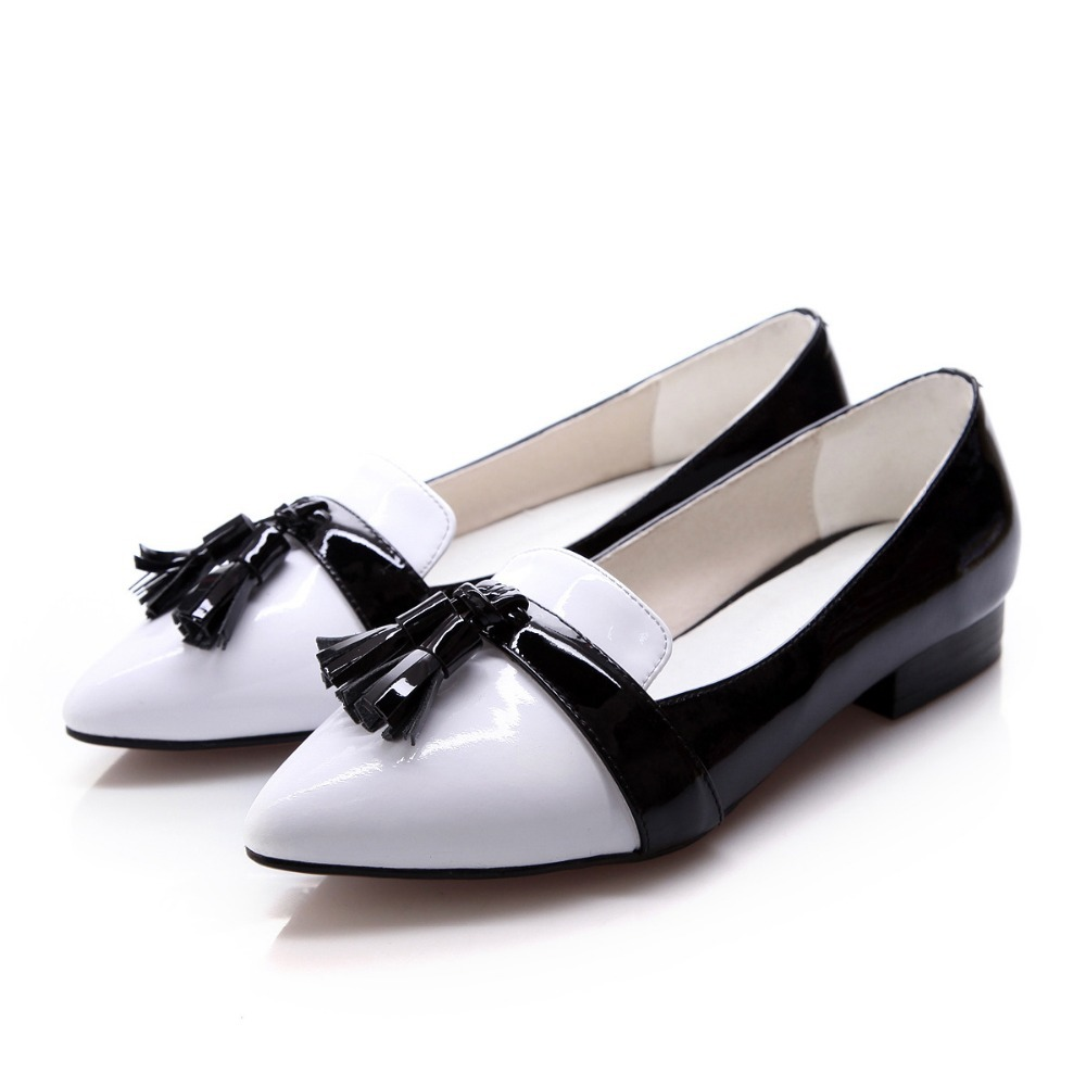 patent leather flat shoes low cost