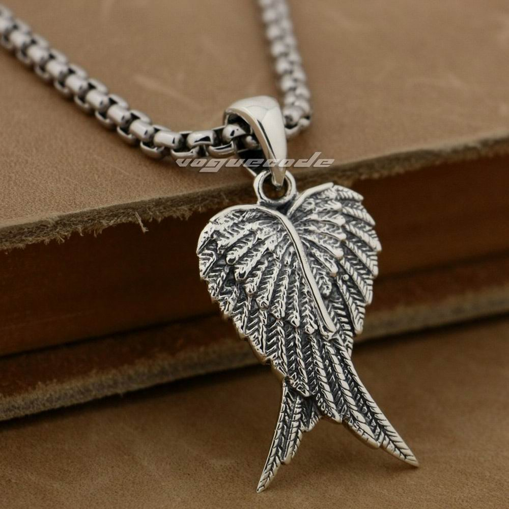 Lovely Angel Wings--Two Wings 925 Sterling Silver Charm Pendant 8X021(Necklace 24inch) silver wings silver wings 31mc0198 38 44