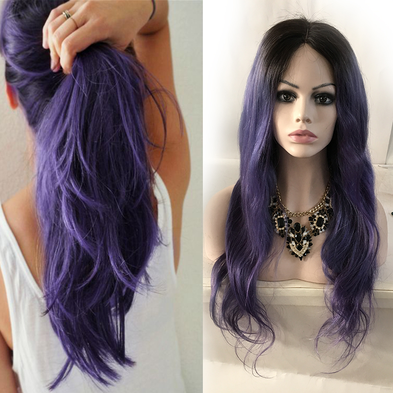Ombre Lace Wig Body Wave Two Tone 1b Purple Human Hair Front Glueless Full Peruvian Wigs Baby In From