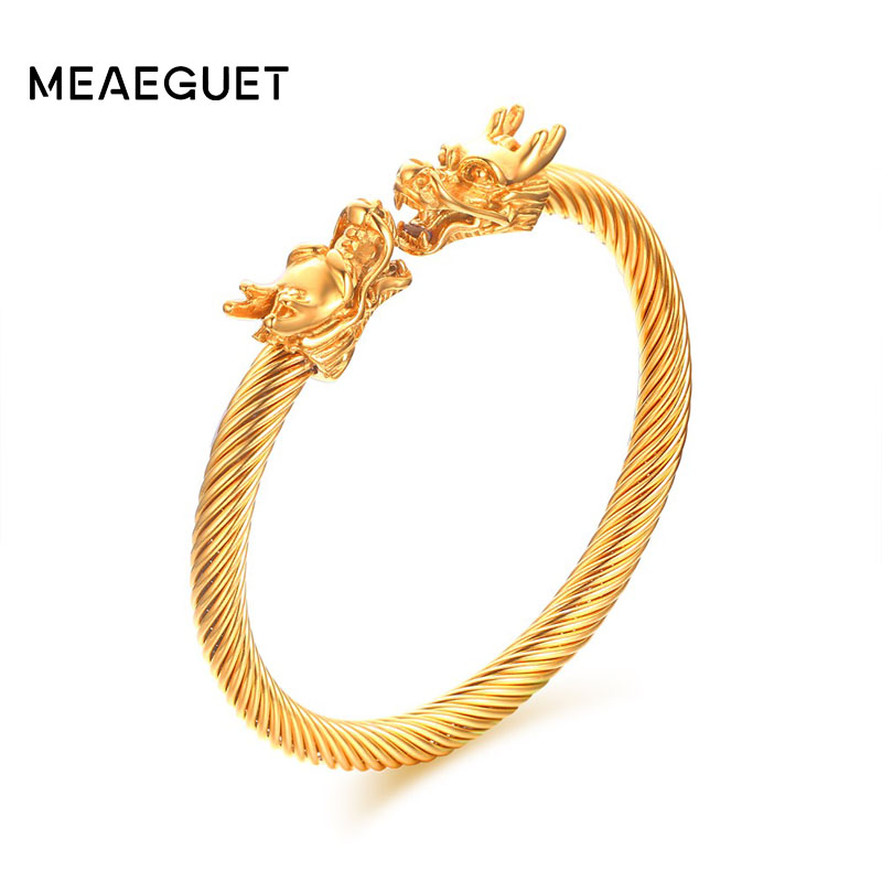 Meaeguet Elastic Adjustable Mens Dragon Bracelet Steel Twisted Cable Cuff Bangle Silver Gold-Color Polished Biker Jewelry