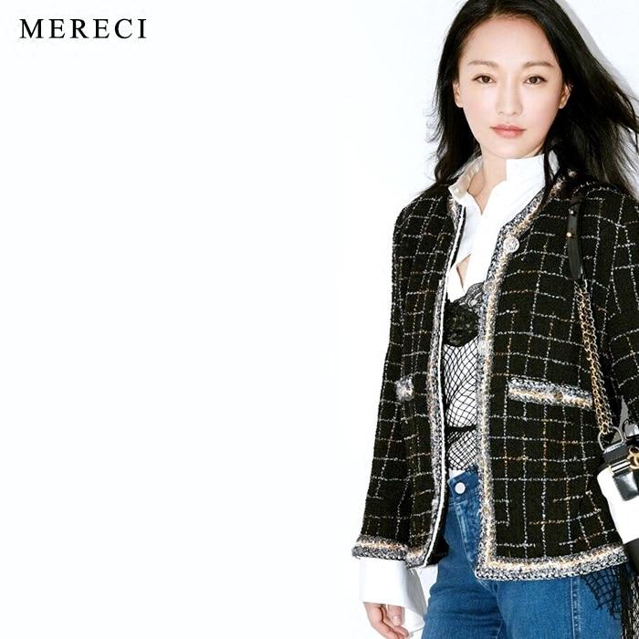 Manches Longues À Élégante Veste Noir Designer 2017 Dames Haute Qualité Manteau De Plaid Piste Tweed Formelle Purebliss Automne F0wq8CT