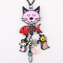 2017 Colorful  French Cat Necklace