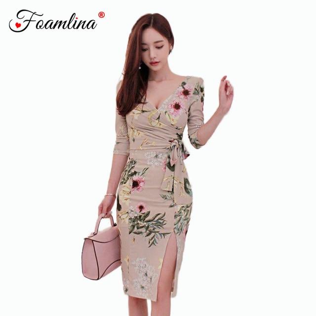 3c7dd56c Foamlina Elegant Women Bodycon Dress 2018 New Autumn Floral Print Vintage  Dress V Neck 3/