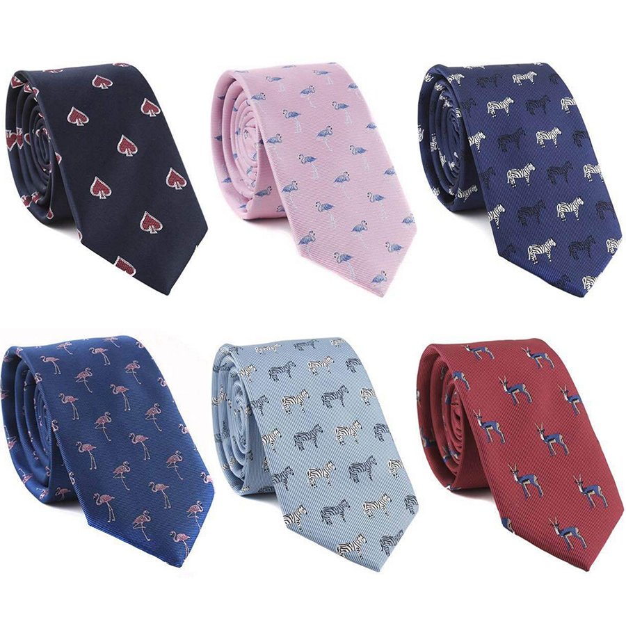 IHGSNMB Mens Tie Fashion Animal Picture Classic Man Necktie Casual Luxury Ties For Men Cravat Wedding Party Colourful Slim Ties