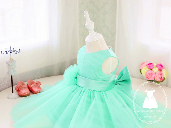 2017 mint green flower girl dresses with bow tulle ball gown toddler pageant dress kids baby infant 1st birthday party outfits ball gown sky blue open back with long train ruffles tiered crystals flower girl dress party birthday evening party pageant gown