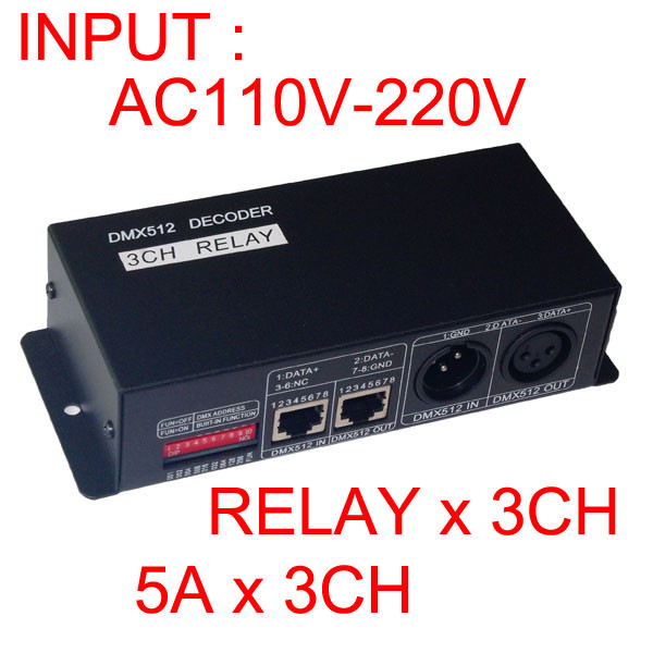 送料無料1ピースDMX RELAY 3チャンネルリレー5a * 3ch入力ac110v 220v dmx512 3 pリレースイッチデコーダ用ledランプledストリップ  グループ上の ライト & 照明 からの RGBコントローラ の中 1