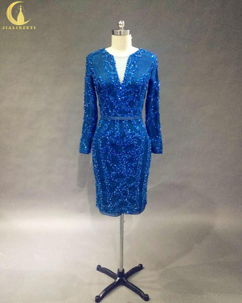 Rhen Real Monster Long SLeeves Spets med pärlor V Neck Knälängd Formella Fashion Party Dresses Mor Prom Dress