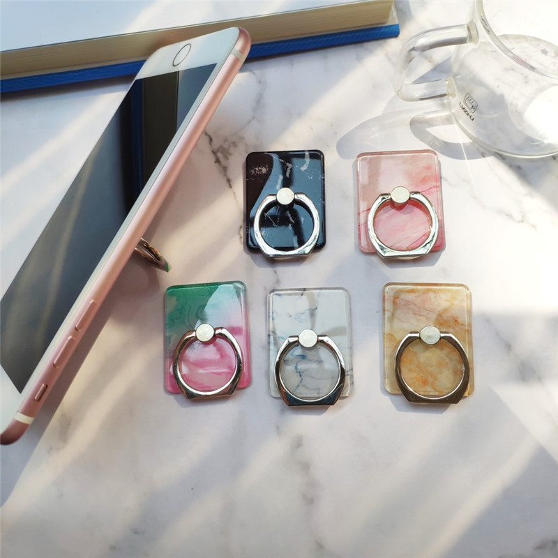 For Huawei Fashion Colorful Finger Ring Universal Marble For Samsung Mobile Phone Cover Smartphone Stand Holder For IPhone Case