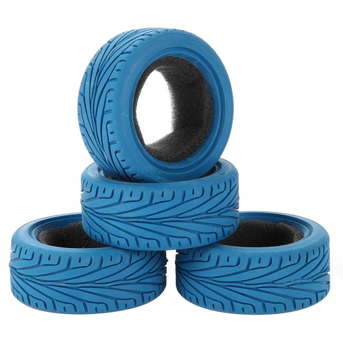 1/10 RC Run-Flat Car Tyres, 65mm Rubber RC On-Road Tire for 1/10 Traxxas HSP Tamiya HPI Kyosho RC On-Road Run-flating Car Part