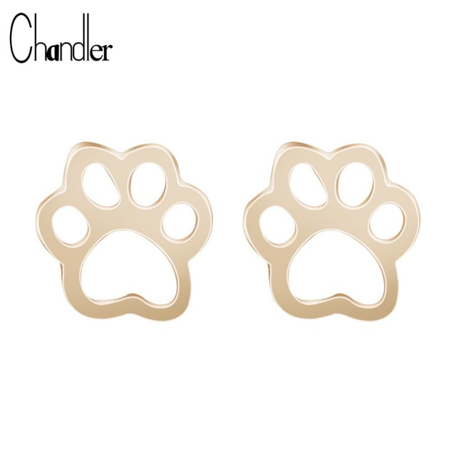 Gold Silver Plated Cute Dog Cat Paw Stud Earrings For Women Men Girls Hollow Ani