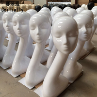 Factory Outlet White Gloss Female Mannequin Head Dummy Doll Head Wig Scarf Jewellery Headphones Stand Mannequins