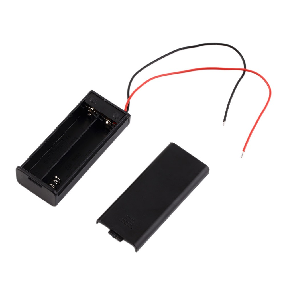 New 2 AAA Battery Storage Case Box Holder for 2pcs AAA Batteries with ON//Off Switch /& Wire Leads Black