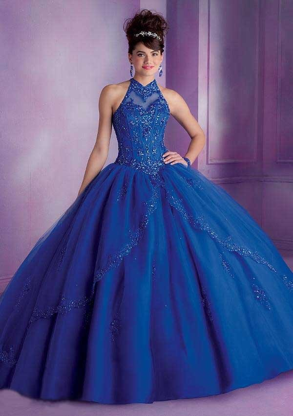 Debut Ball Gowns Quinceanera Dress for 15 Years Tulle Appliques Halter New Fashion Design 2015 Girls Special Party Clothing7