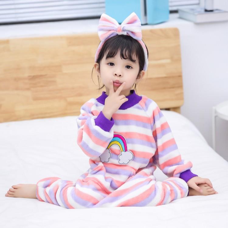Детские цельные пижамы, детские комбинезоны, одежда года, новые фланелевые пижамы в радужную полоску для мальчиков и девочек, одежда для сна, домашняя одежда - Цвет: Цвет: желтый
