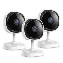 SANNCE Mini caméra de surveillance IP Wifi HD 2MP/1080P, dispositif de sécurité domestique sans fil, Fisheye, avec Vision nocturne infrarouge, babyphone vidéo, 3 pièces