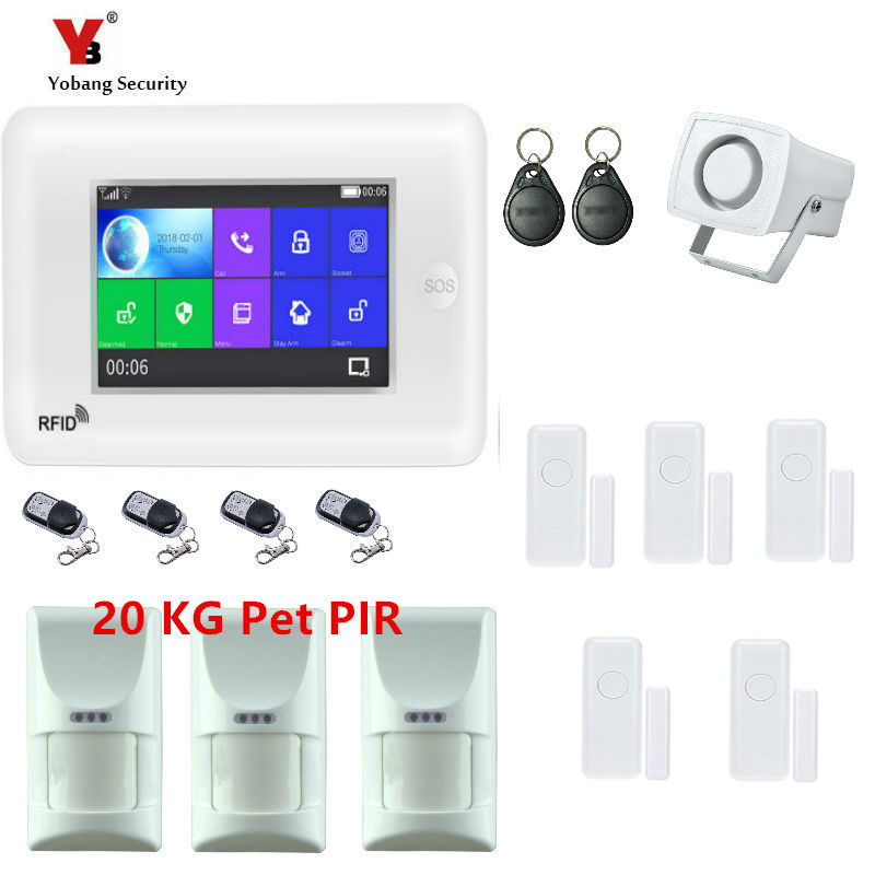 Yobang Security Wired siren System Door&PET pir Sensor For GSM WIFI Smart Home Security Burglar Monitor Alarm APP Remote Control