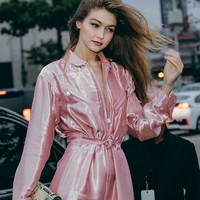 Women's slim Joker casual jumpers winter ins hot Gigi new pink Glossy glitter