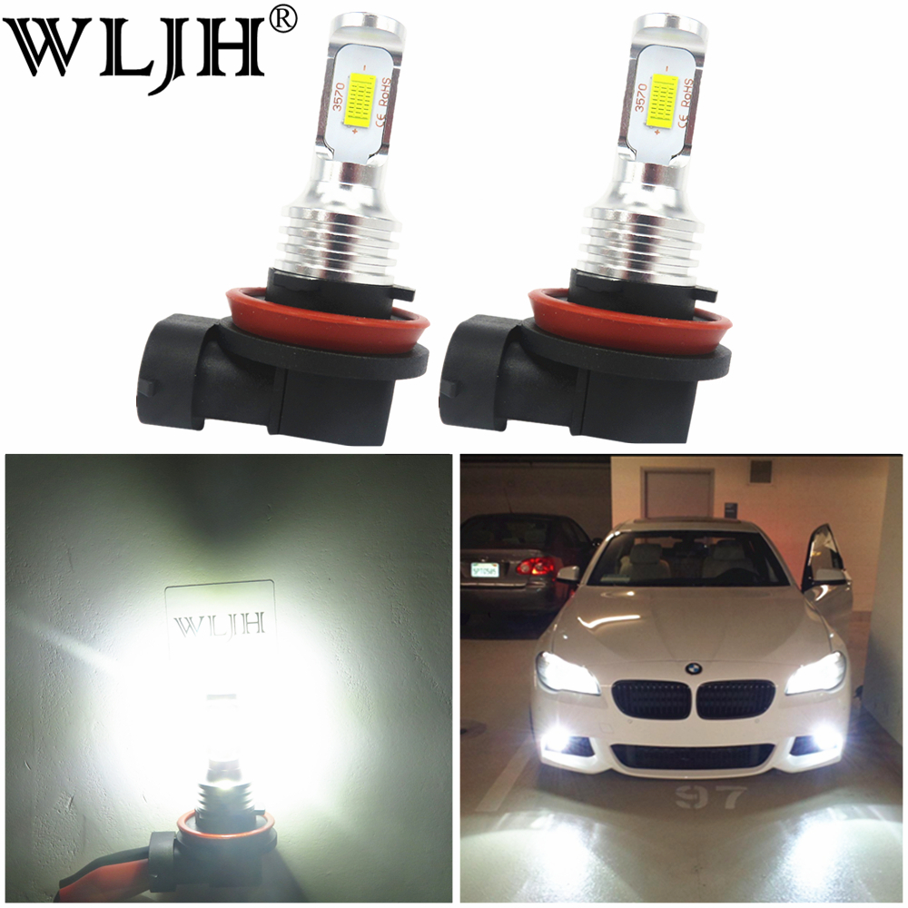 WLJH 2x Canbus 12V 24V H8 Led Bulb Fog Lamp Bulb H8 Light For BMW E39 E46 E60 E70 E72 E90 E92 E93 E81 E82 E84 F10 F15 F20 F25