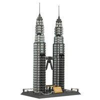 1160 unids ciudad Doble Torres kits de edificio Modelo 3D modelo de construcción bloques Educativos juguetes y pasatiempos para niños 8011