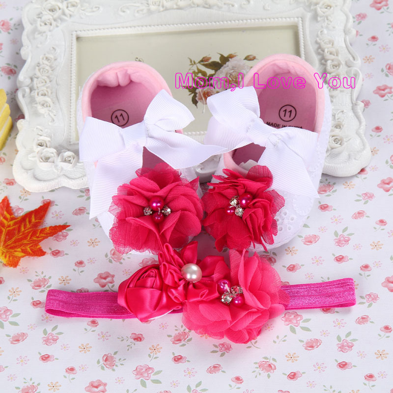 Elefántcsont virág lány cipő kisgyermek fejpánt, kislány baba babakocsi, újszülött lány keresztelő szett, újszülött zsákmányt