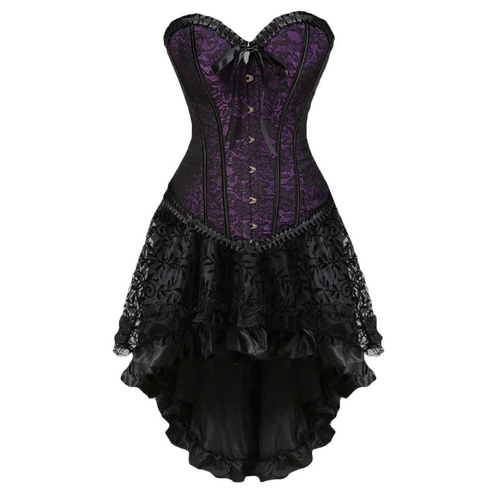 Gothic Floral Lace up Corset Dress Showgirl Clubwear Lingerie Costume Burlesque Corset and Skirt Set Exotic Women's