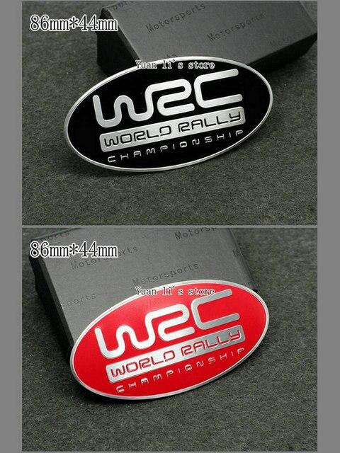 Us 21 82 12 Off Gratis Pengiriman 10 Pcs Aluminium Plat Logo Wrc Dunia Champ Tanda Lambang Emblem Decal Mobil Bagian 86mm 44mm Di Mobil Stiker