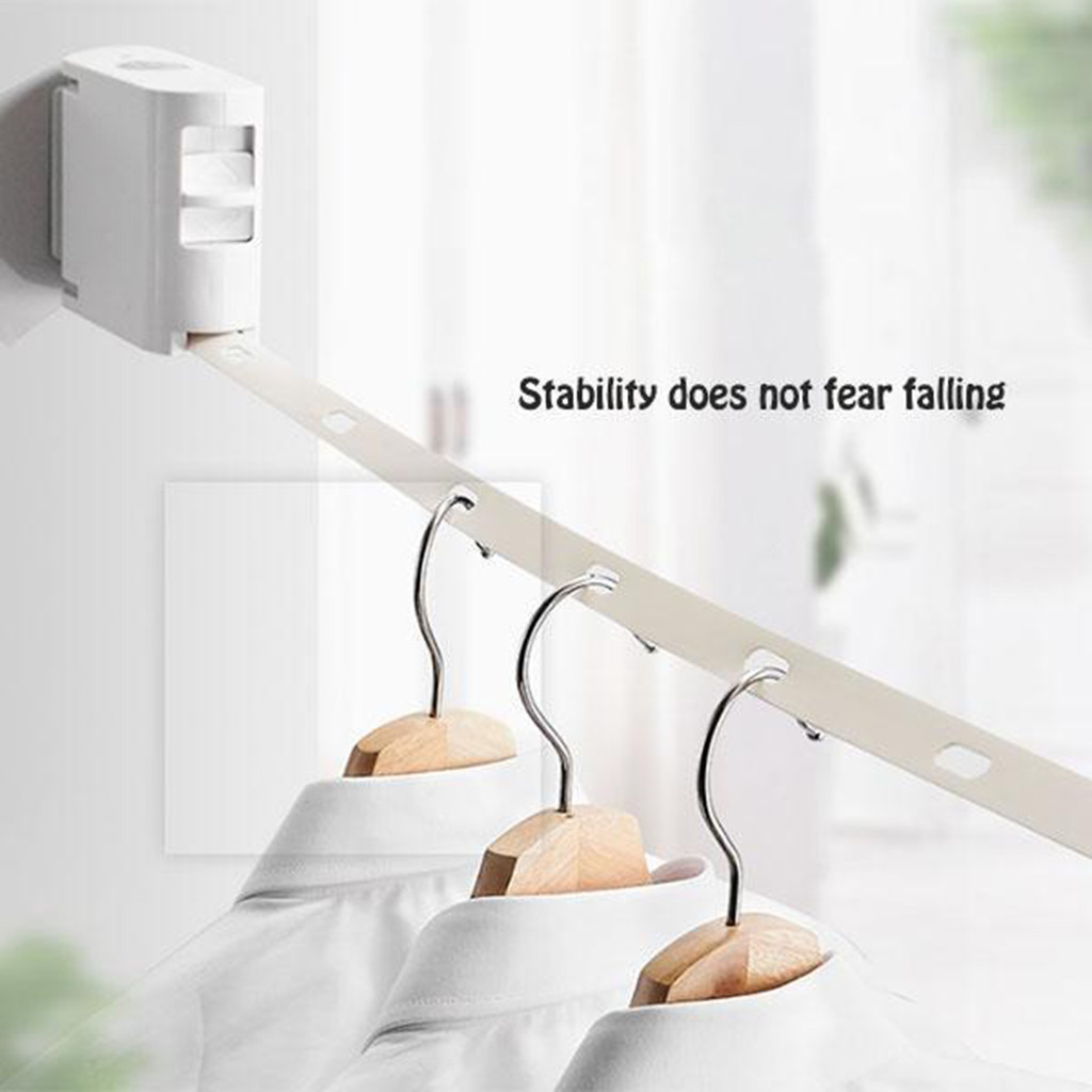 Retractable Invisible Clothesline Indoor Wall Hanging Stretch Clothesline ABS Drying Racks Clothes Hangers Hangers Storage(China)