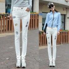 2016 новый женский Корейский стрейч джинсы тонкий карандаш брюки белая дыра ноги знак вышивка