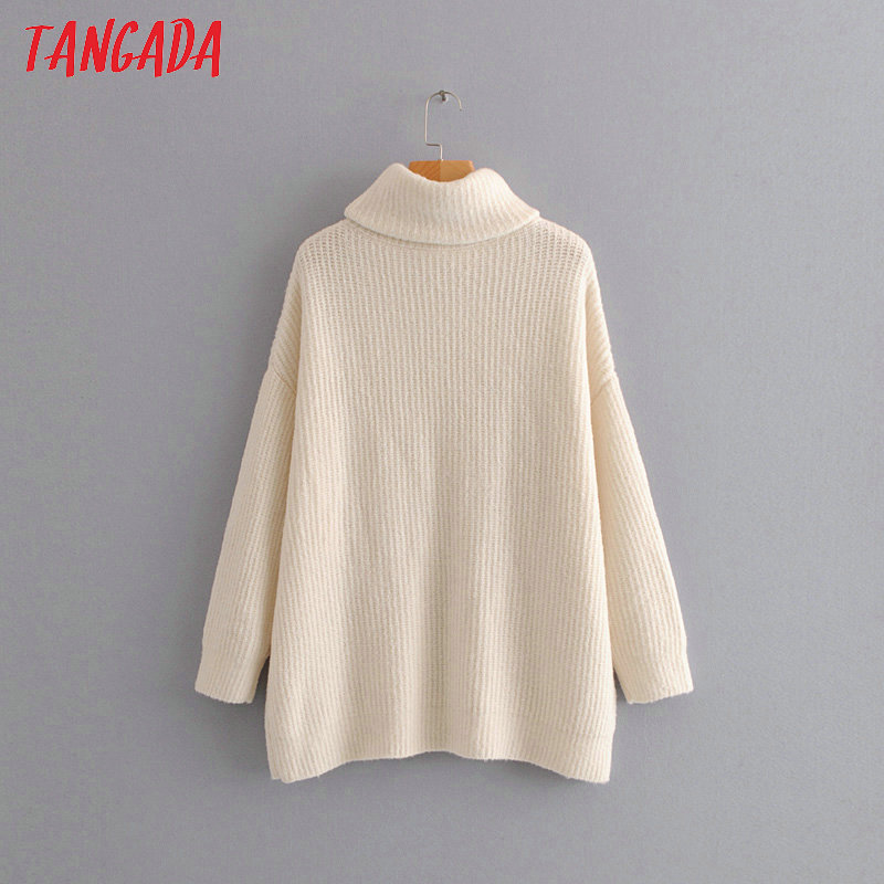 Tangada women jumpers turtleneck sweaters oversize winter fashion 19 long sweater coat batwing sleeve christmas sweate HY135 24