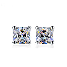 Huitan Elegant Stud Earrings with Square Cutting Cubic Zirconia Halo Engagement Wedding for Women wholesale lots bulk