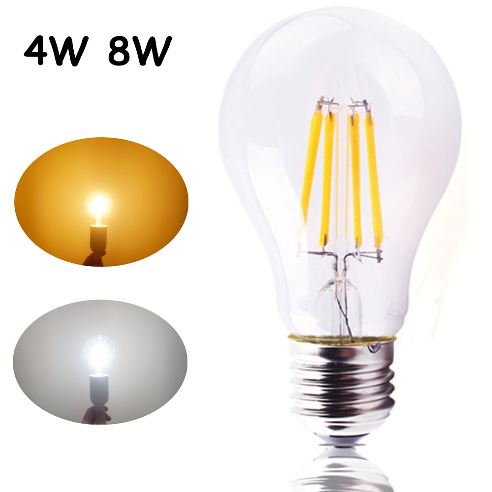 a60 led filament bulb 4w 8w e27 light 110v a19 led bubble ball bulb filament glass light lamp. Black Bedroom Furniture Sets. Home Design Ideas