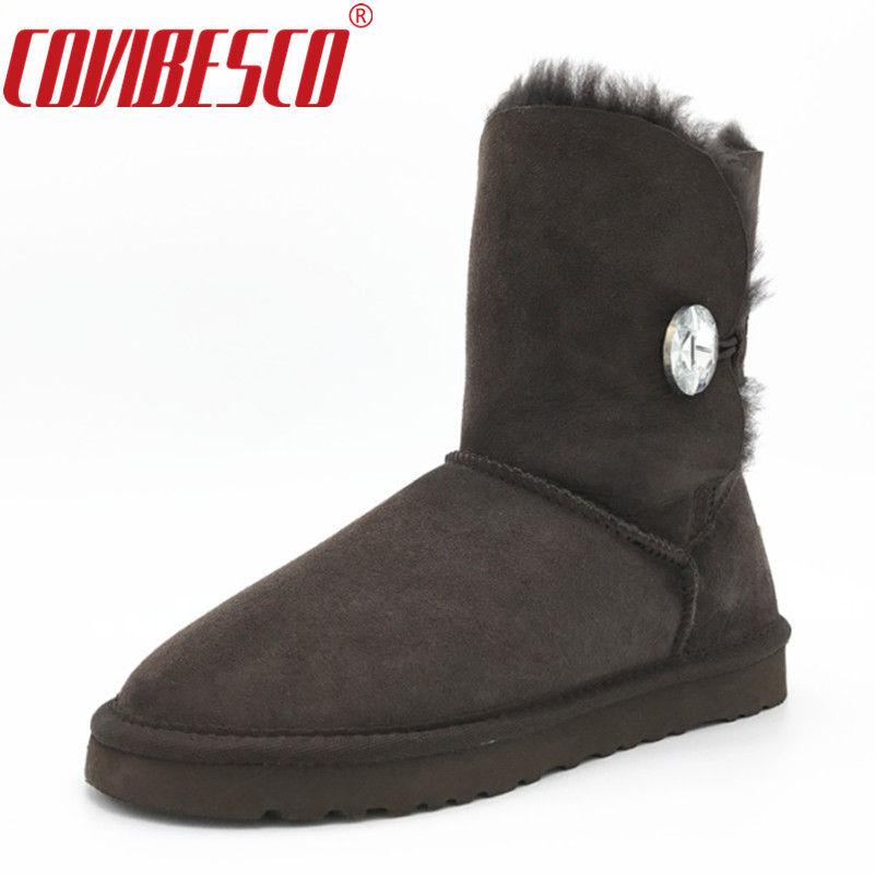 COVIBESCO Women Classic 100% Sheepskin Mid-calf Snow Boots Winter Sheep Fur Boots Flats Warm Snow Boots for Woman Shoes double buckle cross straps mid calf boots