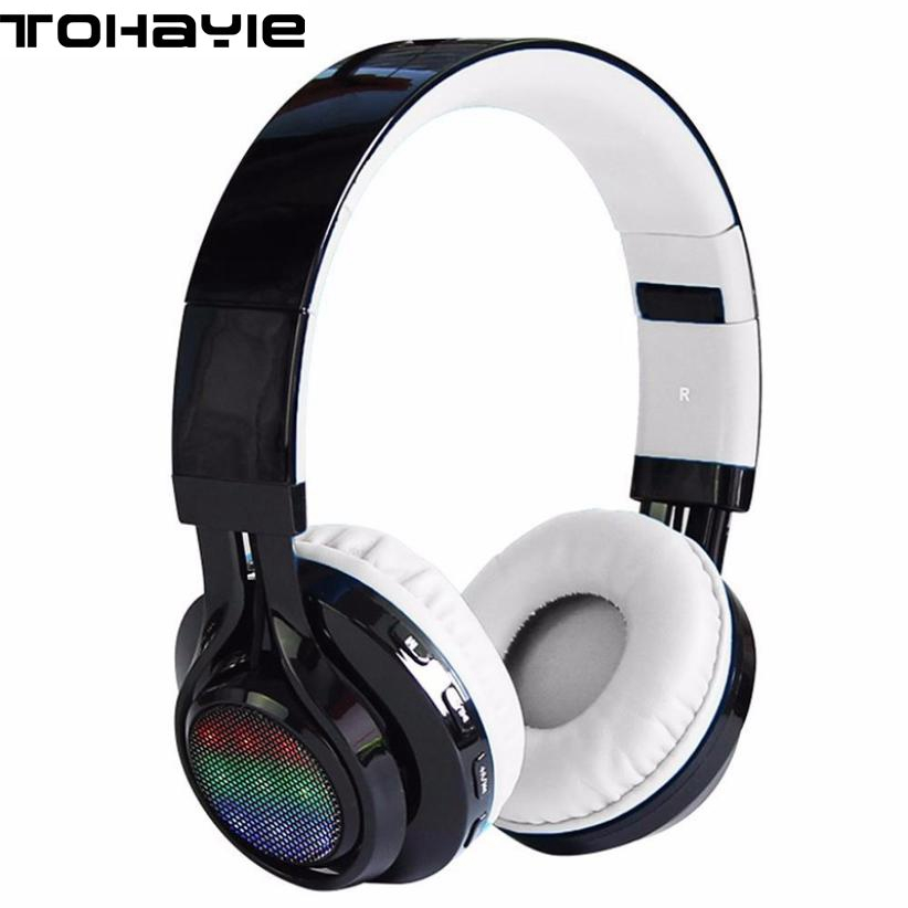 ToHayie Wireless Stereo Bluetooth Headphones Foldable LED Luminous Earphone With Mic Micro SD TF Music FM Radio Headset Earbuds ces hot black mini sports earphones headphones headset mp3 player support micro sd tf fm radio