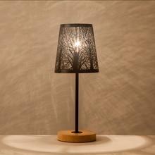 OYGROUP Lámpara de mesita de noche pequeña moderna con casquillo negro de madera, barra de Metal y pantalla hueca E14, lámpara de habitación, Sin bombilla de decoración