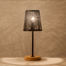 OYGROUP Modern Small Bedside Lamp with Wood Base Black Metal Stick and Hollow Lampshade E14 Table Lamp Room Decoration NO BULB