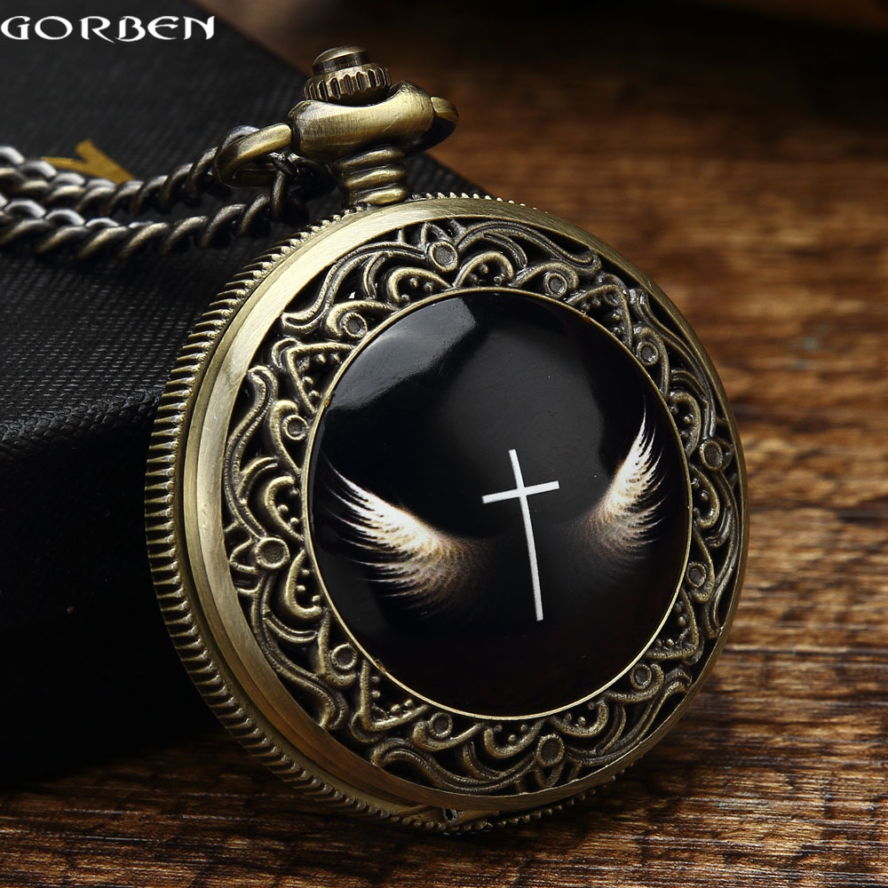 2016 Gorben Vintage Angel Wings Cross Pocket Watch Mens With Fob Chain Gift Box Set God's Angels Cross Wings Quartz Women Watch alice in wonderland drink me tag rabbit quartz pocket watch gift set pendant necklace fob chain with gift box for women mens