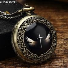 2016 Gorben Vintage Angel Wings Cross Reloj de Bolsillo Para Hombre Con Fob cadena de Caja de Regalo Conjunto de Alas de Los Ángeles de Dios Cruz de Cuarzo Reloj de Las Mujeres