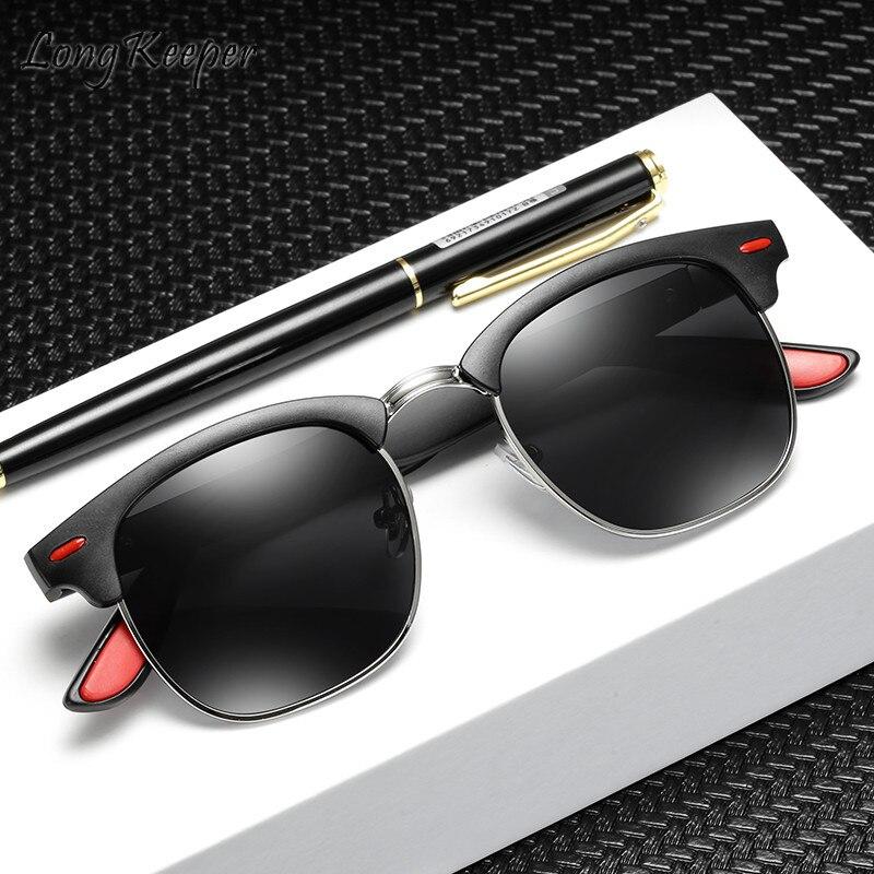 Long Keeper Sunglasses Polarized Woman Men Sun Glasses Half Rimless PC Frame Eyeglasses Eyewear Driving Googles UV400 Fashion